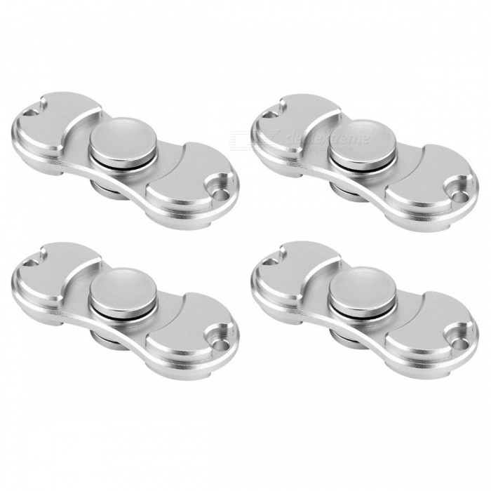 KICCY 4Pcs EDC Fidget Spinners for Relieving Stress, Anxiety - SilverFinger Toys<br>Form  ColorSilverMaterialBrassQuantity4 piecesSuitable Age 9-12 months,13-24 monthsPacking List4 x Spinners<br>