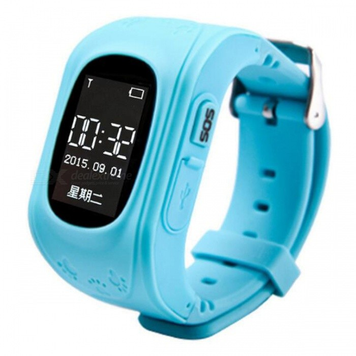 Q50 Children Kid Smart Wristwatch with GSM GPRS GPS Locator - BlueSmart Watches<br>Form  ColorBlueModelQ50Quantity1 setMaterialPlasticShade Of ColorBlueCPU ProcessorMTK6261Screen Size0.96 inchScreen Resolution128 * 64pxNetwork Type2GCellularGSMBluetooth VersionBluetooth V3.0Compatible OSAndroidLanguageFrench,Russian,Spanish,Portuguese,Turkish,EnglishWristband Length20 cmWater-proofOthers,Life WaterproofBattery ModeReplacementBattery TypeLi-ion batteryBattery Capacity320 mAhStandby Time3-5 daysPacking List1 x Smart Watch1 x Charging Cable<br>