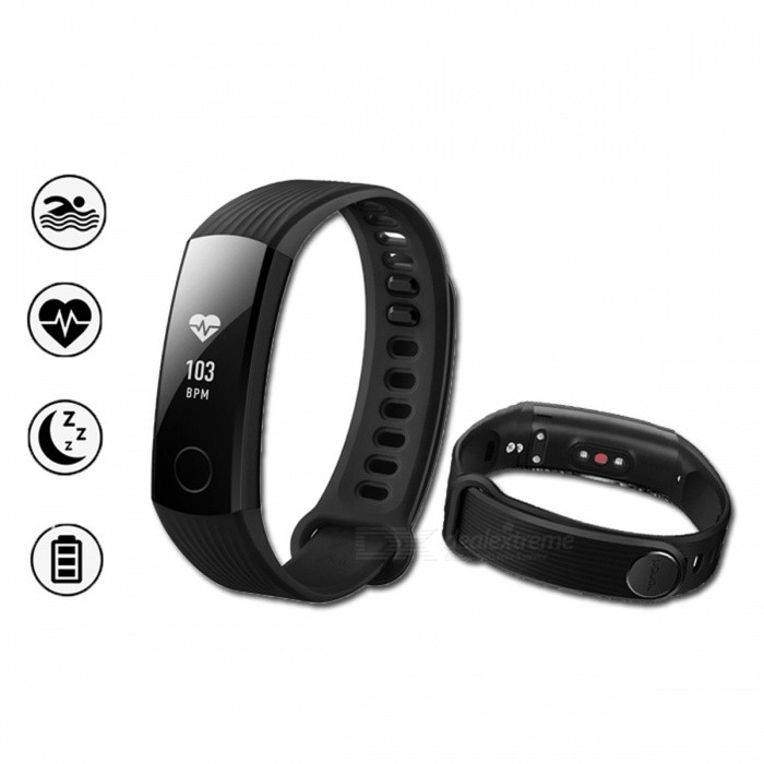 Original Huawei Honor Band 3 Swimmable 5ATM Smart Wristband - BlackSmart Bracelets<br>Form  ColorBlackModelHonor Band 3Quantity1 DX.PCM.Model.AttributeModel.UnitMaterialPlastic + TPUShade Of ColorBlackWater-proofOthers,5ATMBluetooth VersionOthers,Bluetooth V4.2Touch Screen TypeOthers,OLEDCompatible OSAndroid 4.4+/iOS 8.0+Battery Capacity100 DX.PCM.Model.AttributeModel.UnitBattery TypeLi-ion batteryStandby Time45 DX.PCM.Model.AttributeModel.UnitForm  ColorBlackPacking List1 x Smart Band1 x Charging Cable1 x Manual<br>