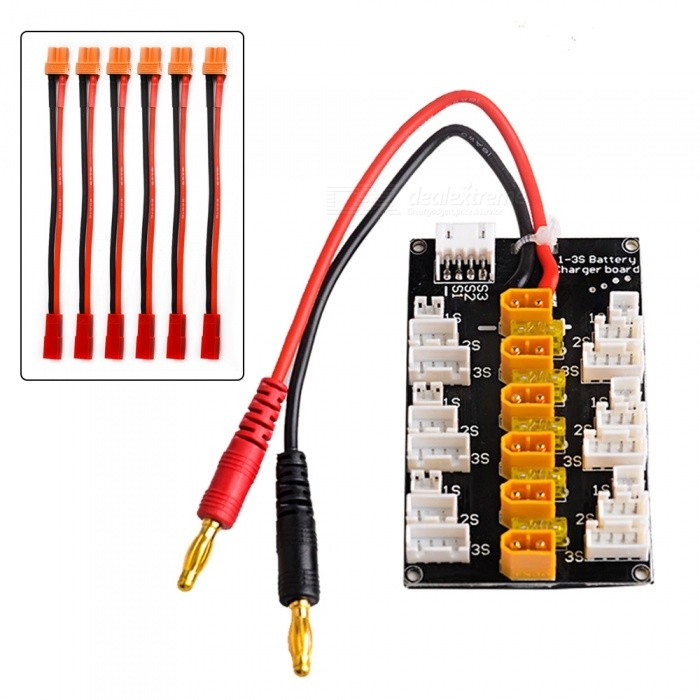 XT30 1S 2S 3S LiPo Charging Board with JST JST-PH 2.0 ConnectorOther Accessories for R/C Toys<br>Form  ColorBlack + YellowMaterialPCBQuantity1 setCompatible Model2S 3S LiPo BatteriesPacking List1 x XT30 Parallel Charging Board 1 x Balance Cable6 x XT30 Male to JST Female Cable<br>