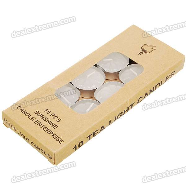 Charming Smokeless Unscented Tea Light Candle - White (10-Pack)