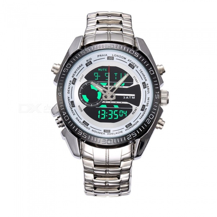 Outdoor Waterproof Luminous Mens Sports Watch - SilverSport Watches<br>Form  ColorSilverModelN/AQuantity1 setShade Of ColorSilverCasing MaterialAlloy CaseWristband MaterialSteel StrapSuitable forAdultsGenderMenStyleWrist WatchTypeSports watchesDisplayDigitalBacklightGreenMovementOthers,ElectronicsDisplay Format24 hour time formatWater ResistantOthers,YesDial Diameter4.5 cmDial Thickness1.5 cmWristband Length25 cmBand Width4 cmBatteryS1121Packing List1 x Outdoor sports watch<br>