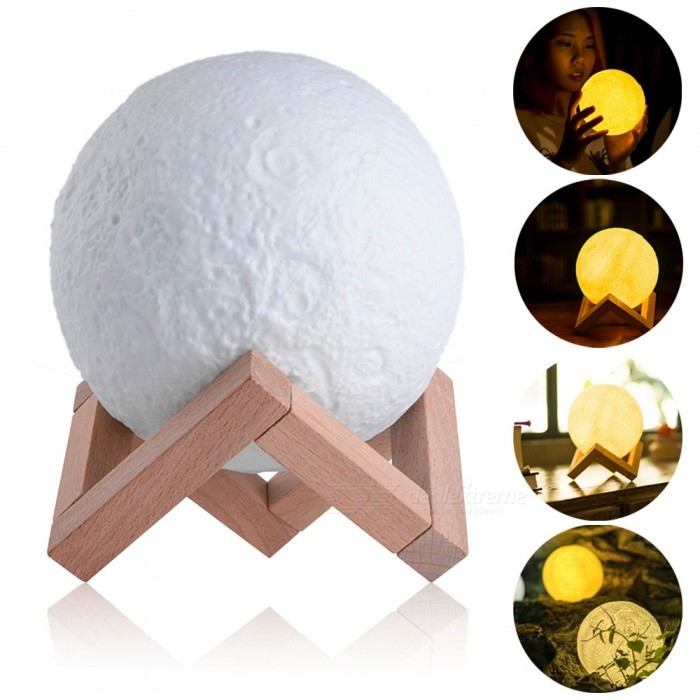 YouOKLight 3D Print Moon Lunar Style Lamp 3-Mode Dimmable Night LightLED Nightlights<br>Form  ColorWhite + YellowModelYK2287MaterialPVC + ABSQuantity1 piecePower1WRated VoltageOthers,DC 5 VColor BINOthers,Cold White/ Warm White/ Neutral WhiteEmitter TypeLEDColor Temperature12000K,Others,3000K-6000KDimmableYesBeam Angle360 °Installation TypeOthersPacking List1 x LED Lamp1 x USB Cable (Cable Length: 1.2M)1 x Wood Holder<br>