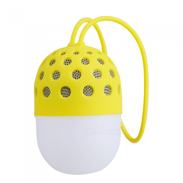 Portable Lantern Style Bluetooth Speaker for Cell Phones - YellowBluetooth Speakers<br>Form  ColorWhite + YellowModelN/AMaterialABS plastic + silica gelQuantity1 pieceShade Of ColorWhiteBluetooth HandsfreeYesBluetooth ChipCSRBluetooth VersionBluetooth V3.0Operating Range10MTotal Power5 WChannels2.0Interface3.5mm,USB 2.0MicrophoneNoSNR85dbFrequency Response150Hz~20KHzApplicable ProductsIPHONE 5,IPHONE 4,IPHONE 4SRadio TunerNoBuilt-in Battery Capacity 300 mAhBattery TypeLi-ion batteryTalk Time4 hourStandby Time8 hourMusic Play Time3 hourPacking List1 x Bluetooth speaker<br>