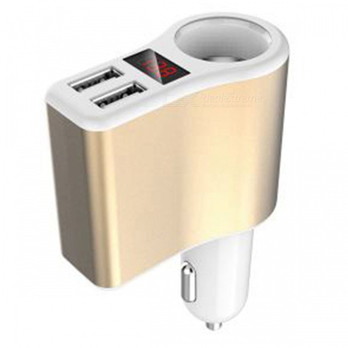3.1A Dual USB Car Cigarette Lighter Charger - Golden + WhiteCar Power Chargers<br>Form  ColorWhite + GoldenModelYCC06Quantity1 setMaterialABSInput Voltage12~24 VOutput Voltage5 VOutput Current3.1 AApplicationCars, off-road vehicles, trucks, buses, pendulum GM (12-24V)Other FeaturesSmoke mouth power: 120WCertificationCEPacking List1 x Car Charger<br>