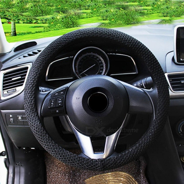 CARKING 38cm Dia Odorless Breathable Steering Wheel Cover - BlackOther Interior<br>Form  Color38CM - BlackModelN/AQuantity1 pieceMaterialIce Silk FabricPacking List1 x Steering Wheel Cover<br>