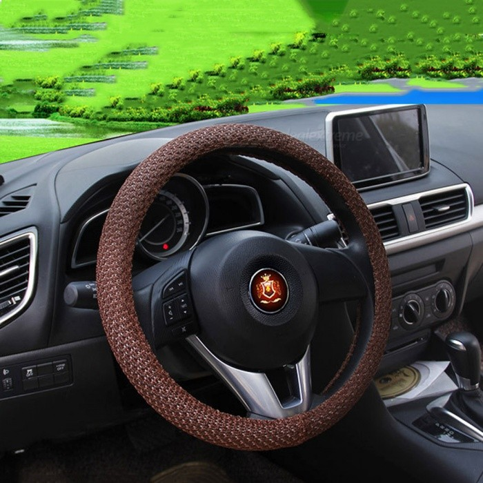 CARKING 38cm Dia Odorless Breathable Steering Wheel Cover - CoffeeOther Interior<br>Form  Color38CM - CoffeeModelN/AQuantity1 pieceMaterialIce Silk FabricPacking List1 x Steering Wheel Cover<br>