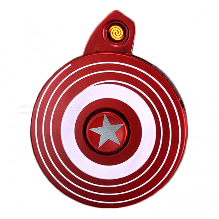 Captain Americas Shield Style Cigar Lighter + Fidget Spinner w/ LEDOther Lighters<br>Form  ColorRedMaterialAlloyQuantity1 DX.PCM.Model.AttributeModel.UnitShade Of ColorRedTypeUSBPower SupplyLithium batteryCharging Time2 DX.PCM.Model.AttributeModel.UnitPacking List1 x Fidget Spinner/Cigar Lighter1 x USB cable<br>