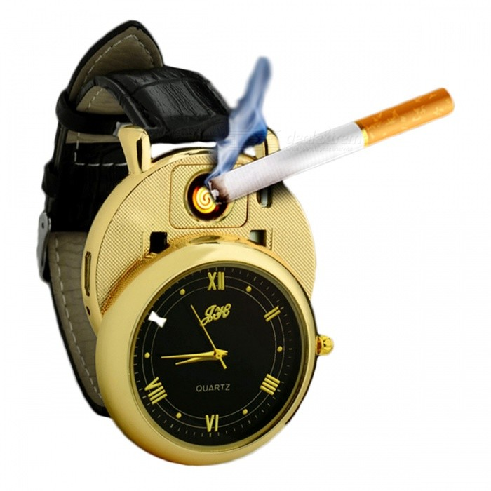 ZHAOYAO USB Charging Quartz Watch with Windproof Military LighterOther Lighters<br>Form  ColorGolden + BlackMaterialAluminium alloyQuantity1 DX.PCM.Model.AttributeModel.UnitShade Of ColorGoldTypeUSBWindproofYesPower SupplyPolymer batteryCharging Time2 DX.PCM.Model.AttributeModel.UnitPacking List1 x USB cable1 x Lighter Watch<br>