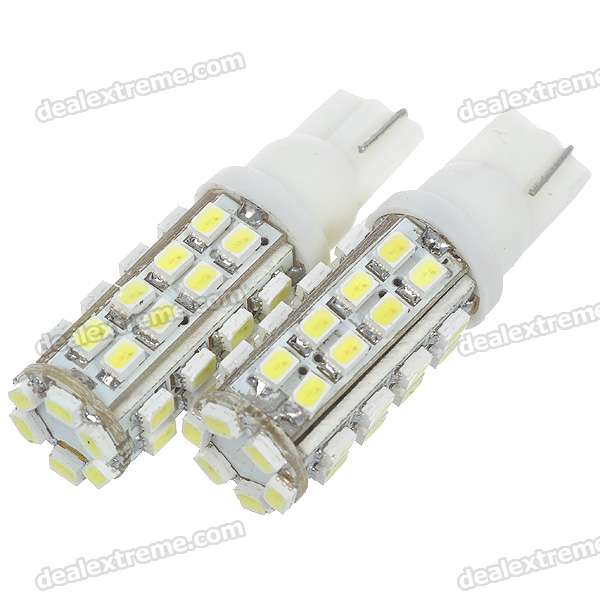 T10 3W 12V 304-Lumen 38x3020 SMD LED Car White Light Bulb (Pair)