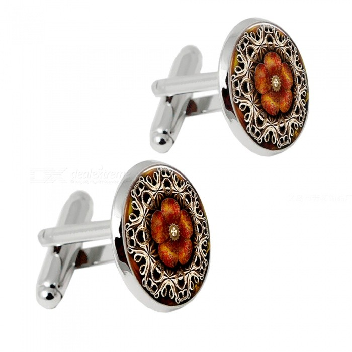 Mens Vintage Alloy Cufflinks - Silver + Multicolor (Pair)Cufflinks<br>Form  ColorSilver + MulticoloredQuantity2 DX.PCM.Model.AttributeModel.UnitShade Of ColorSilverMaterialAlloyPacking List2 x Cufflinks<br>