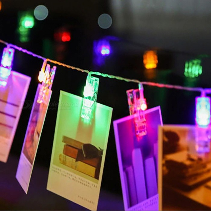 40-LED Multi-Color Photo Hanging Peg Clips LED String LightsLED String<br>Form  ColorWhiteColor BINMulti-colorMaterialPVC + ABSQuantity1 setPowerOthers,0.5WRated VoltageOthers,4.5 VChip BrandOthers,ChinaEmitter TypeLEDTotal Emitters40Wavelength3MTheoretical Lumens800 lumensActual Lumens600 lumensPower AdapterBatteryPacking List1 x LED clip string light<br>