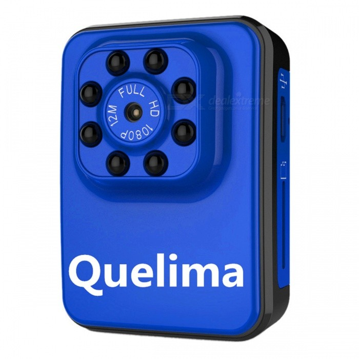 Quelima Wi-Fi Edition Mini Recorder DVR w/ IR Night Vision - BlueCar DVRs<br>Form  ColorBlueModelR3Quantity1 DX.PCM.Model.AttributeModel.UnitMaterialABS + Aluminum alloyChipsetOthers,Generalplus1248Other FeaturesOthers,Loop-cycle Recording, Motion Detection, Night VisionWide Angle120°-149°Camera Lens1Image SensorCMOSCamera Pixel3.0MPWide Angle140°Screen TypeOthers,NOScreen SizeOthers,NOVideo FormatAVIDecode FormatH.264Video OutputPAL,NTSCVideo ResolutionOthers,1080P (1920 x 1080)Video Frame Rate25ImagesJPEGStill Image ResolutionOthers,12MMicrophoneYesMotion DetectionYesAuto-Power OnNoLED Qty8IR Night VisionYesG-sensorNoDelay ShutdownYesBuilt-in Memory / RAMNoMax. Capacity32GBStorage ExpansionTFAV InterfaceOthers,Mini 8Pin USBData interfaceMini USBWorking Voltage   3.7 DX.PCM.Model.AttributeModel.UnitBattery Capacity450 DX.PCM.Model.AttributeModel.UnitWorking Time150 DX.PCM.Model.AttributeModel.UnitMenu LanguageOthers,NOOther FeaturesDownload support Andrews system, support IOS system, can be directly sweep code download<br>1.WIFI connection: in the phone or tablet computer WIFI settings inside the connection is called JH-7602B at the beginning of the column as (JH-7602B_A885) network; the default password is 12345678.<br> 2. Indicator: The blue light is on and the WIFI function is on or connected. The blue light flashes and the WIFI is transmitting the image signal. 3. Photo recording: WIFI mode camera recording in the APP operation optional phone or memory card. In the APP settings inside the optional video format, AVI / WIFI distance of 25-30 meters, working time can be continuous camera about 150-180 minutes,<br>8 grams of super infrared night vision lights, night vision distance of about 5-8 meters to support the cycle of video, input voltage DC5V,<br>Mini 8P support system Windows me / 2000 / XP / 2003 / Vista; Mac Os; Linux; play software system comes with or mainstream audio and video playback softwarePacking List1 x DVR1 x Collar1 x Helmet frame1 x Bicycle frame1 x Data cable1 x Manual<br>