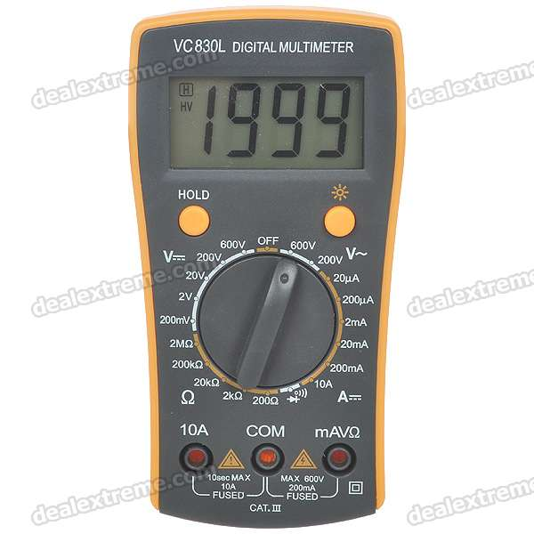 "VC830L 2.2"" LCD Handheld Digital Multimeter (Voltage + Current + Resistance /1*6F22)"