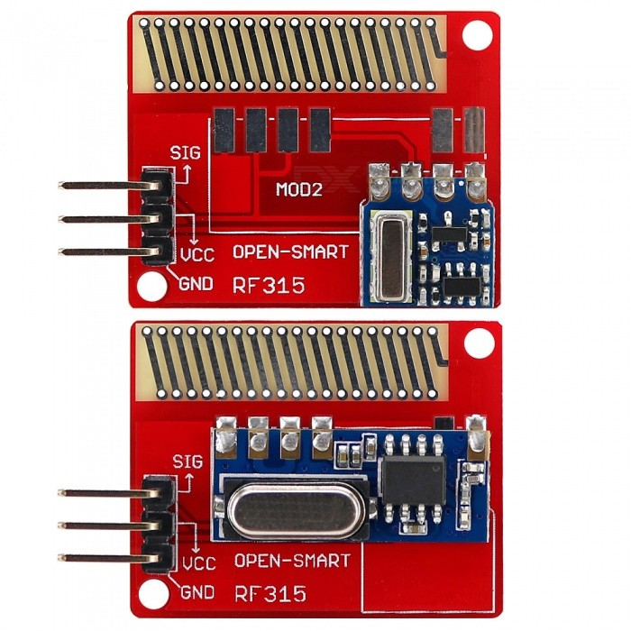 OPEN-SMART Long Range 315MHz RF Wireless Transceiver Kit for ArduinoTransmitters &amp; Receivers Module<br>Form  ColorRed + BlueModelN/AQuantity1 DX.PCM.Model.AttributeModel.UnitMaterialPCB + Alloy + PlasticFrequency315MHzWorking Voltage   DC 4-12 DX.PCM.Model.AttributeModel.UnitEnglish Manual / SpecYesDownload Link   http://drive.google.com/drive/folders/0B6uNNXJ2z4CxaUl1dEdtT3JxS1E?usp=sharingPacking List1 x Transmitter module1 x Receiver module<br>