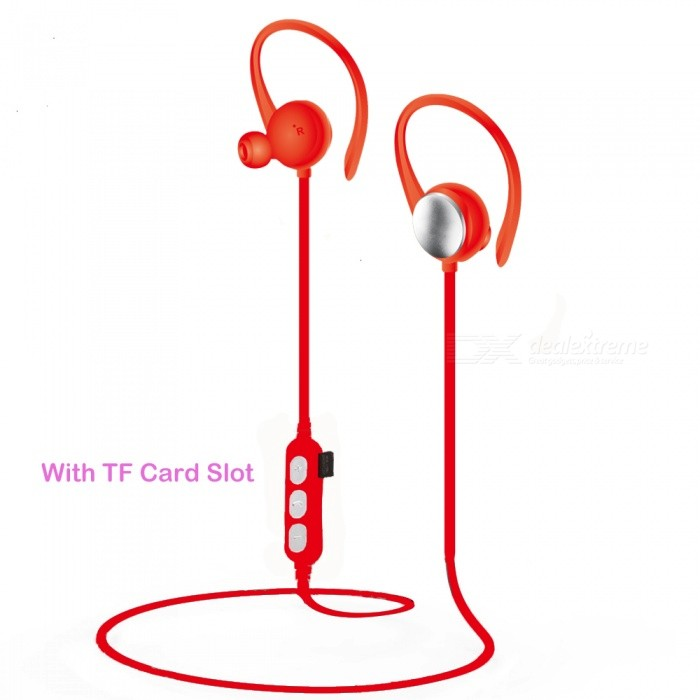 Sports Wireless Bluetooth Ear-Hook Earphones with TF Card Slot - RedHeadphones<br>Form  ColorRedBrandOthers,VIGROSModelSW17090124MaterialPlasticQuantity1 DX.PCM.Model.AttributeModel.UnitConnectionBluetooth,Others,TF CardBluetooth VersionBluetooth V4.1Bluetooth ChipJLOperating Range10mConnects Two Phones SimultaneouslyYesCable Length60 DX.PCM.Model.AttributeModel.UnitLeft &amp; Right Cables TypeUnequal LengthHeadphone StyleNeckband,Ear-hookWaterproof LevelIPX5Applicable ProductsUniversalHeadphone FeaturesHiFi,English Voice Prompts,Phone Control,Long Time Standby,With Microphone,Lightweight,Portable,Invisible Style,For Sports &amp; ExerciseRadio TunerNoSupport Memory CardYesMemory Card SlotStandard TF CardSupport Apt-XNoChannels2.0Sensitivity95dBFrequency Response20-20KHZImpedance16 DX.PCM.Model.AttributeModel.UnitBattery TypeLi-ion batteryBuilt-in Battery Capacity 80 DX.PCM.Model.AttributeModel.UnitStandby Time120 DX.PCM.Model.AttributeModel.UnitTalk Time3-5 DX.PCM.Model.AttributeModel.UnitMusic Play Time4-6 DX.PCM.Model.AttributeModel.UnitPower AdapterUSBPower Supply5vPacking List1 x Bluetooth Earphones1 x Charge Cable<br>