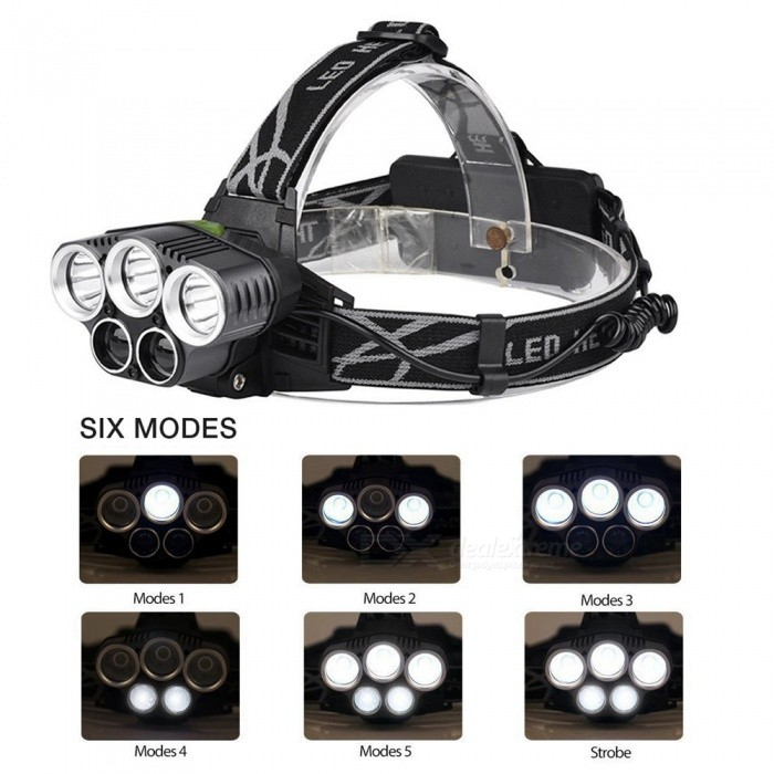 ZHAOYAO 3xT6 + 2xR5 6-Mode Waterproof Outdoor Multi-function HeadlightHeadlamps<br>Form  ColorBlack + Grey + Multi-ColoredModel5x ledQuantity1 DX.PCM.Model.AttributeModel.UnitMaterialAluminium alloyEmitter BrandCreeLED TypeXM-LEmitter BINT6Color BINWhiteNumber of Emitters5Working Voltage   3.7-7.4 DX.PCM.Model.AttributeModel.UnitPower Supply18650Current3 DX.PCM.Model.AttributeModel.UnitTheoretical Lumens6000 DX.PCM.Model.AttributeModel.UnitActual Lumens300-5000 DX.PCM.Model.AttributeModel.UnitRuntimeDepends on the battery quantities DX.PCM.Model.AttributeModel.UnitNumber of Modes6Mode ArrangementHi,Mid,Low,Fast StrobeMode MemoryNoSwitch TypeClicky SwitchSwitch LocationHeadLensGlassReflectorAluminum SmoothBand Length20 DX.PCM.Model.AttributeModel.UnitCompatible Circumference40-80cmBeam Range100-450 DX.PCM.Model.AttributeModel.UnitPacking List1 x Head lamp 1 x USB cable 2 x 18650 batteries1 x EU charger<br>