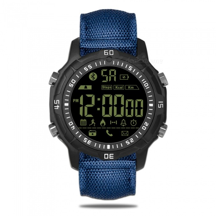 Zeblaze VIBE 2 Hiking 5ATM Waterproof Smart Watch - BlueSmart Watches<br>Form  ColorBlueModelVIBE2Quantity1 setMaterialAluminum zinc alloy ZA-8Shade Of ColorBlueCPU ProcessorNOScreen Size1.1 inchScreen ResolutionNOBluetooth VersionBluetooth V4.0Operating SystemAndroid 4.4,iOSCompatible OSAndroidIOSLanguageEnglishWristband Length15 cmWater-proofIP67Battery ModeNon-removableBattery TypeCR2032 batteryBattery Capacity290 mAhStandby Time540 daysPacking List1 x Zebalze Vibe2 Sport Smart Watch1 x Box1 x User Manual (English)<br>