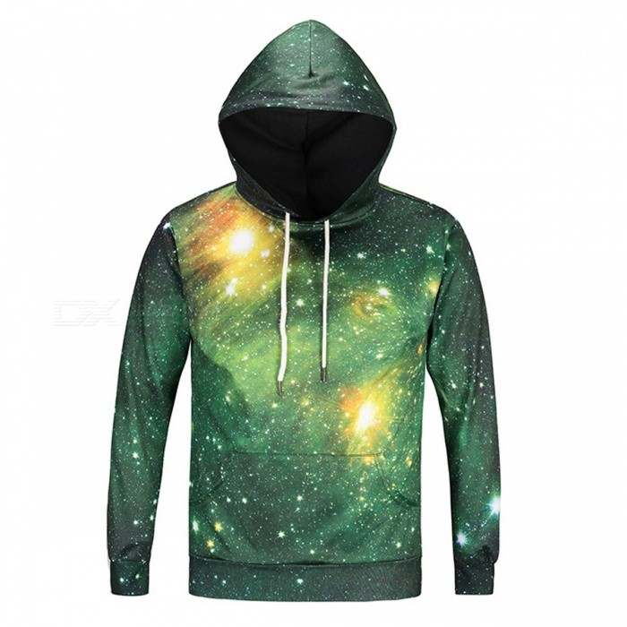 Space Galaxy 3D Unisex Sweatshirt Hoodies with Hat - Green (XL)Hoodies &amp; Sweatshirts<br>Form  ColorSpace Galaxy GreenSizeXLModelDM114Quantity1 DX.PCM.Model.AttributeModel.UnitShade Of ColorMulti-colorMaterialPolyester, SpandexPatternSpace GalaxyStyleSportsShoulder Width47 DX.PCM.Model.AttributeModel.UnitChest Girth108 DX.PCM.Model.AttributeModel.UnitWaist Girth108 DX.PCM.Model.AttributeModel.UnitSleeve Length62 DX.PCM.Model.AttributeModel.UnitTotal Length69 DX.PCM.Model.AttributeModel.UnitSuitable for Height170-175 DX.PCM.Model.AttributeModel.UnitPacking List1 x Sweatshirt<br>
