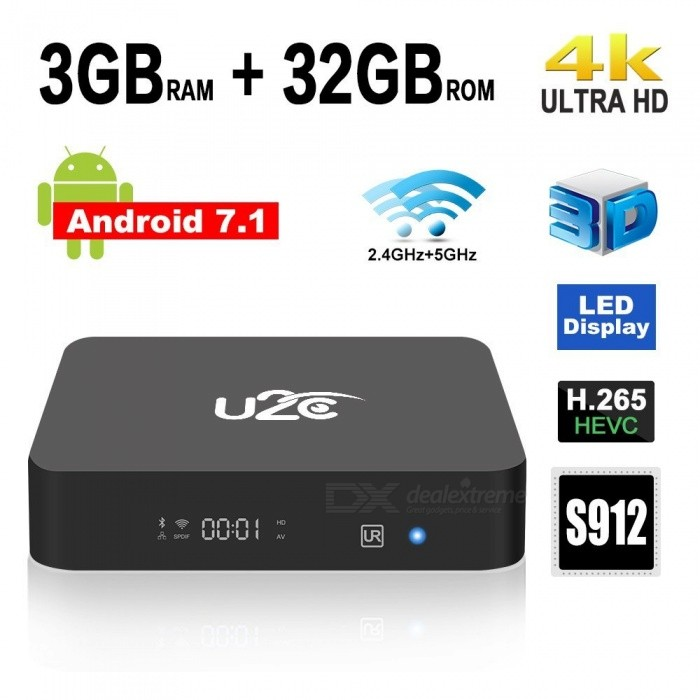 Amlogic S912 Android 7.1 Smart TV Box with 3GB RAM 32GB ROM (US Plug)Smart TV Players<br>Form  ColorBlackBuilt-in Memory / RAM3GBStorage32GBPower AdapterUS PlugQuantity1 setMaterialABSShade Of ColorBlackOperating SystemOthers,Android 7.1ChipsetAmlogic S912CPUOthers,Cortex-A53Processor Frequency1.5GHzGPUARM Mali-T820MP3 GPU up to 750MHzMenu LanguageEnglishMax Extended Capacity128GBSupports Card TypeMicroSD (TF)Wi-Fi802.11 b/g/ AC(2.4G+5G)Bluetooth VersionOthers,Bluetooth V4.13G FunctionYesWireless Keyboard/Mouse2.4GAudio FormatsOthers,MP1, MP2, MP3, WMA, OGG, AAC, M4A, FLAC, APE, AMR, RA, WAVVideo FormatsOthers,4K @ 60fpsH.265AVIH.264VC-1MPEG-2MPEG-4DIVD / DIVXReal8 / 9/10RMRMVBPMPFLVMP4M4V VOBWMV3GPMKVAudio CodecsDTS,AC3,FLACVideo CodecsOthers,4KH.265MPEG1 / 2/4H.264HD AVC / VC-1RM / RMVBXvid / DivX3 / 4/5/6Real Video 8/9/10Picture FormatsOthers,JPEG / BMP / GIF / PNG / TIFFSubtitle FormatsMicroDVD [.sub],SubRip [.srt],Sub Station Alpha [.ssa],Sami [.smi]idx+subPGSOutput Resolution1080PHDMI2.0Power Supply5V 2APacking List1 x Android 7.1 TV Box1 x 5V/2A Power Adapter1 x Learning Remote Control1 x HD Cable1 x English User Manual<br>