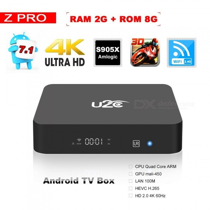 Android 7.1 Smart TV Box Z Pro Amlogic Quad Core 2GB/8GB ROM - EU PlugSmart TV Players<br>Form  ColorBlackBuilt-in Memory / RAM2GBStorage8GBPower AdapterEU PlugQuantity1 DX.PCM.Model.AttributeModel.UnitMaterialABSShade Of ColorBlackOperating SystemOthers,Android 7.1ChipsetAmlogic S905XCPUOthers,Cortex-A53Processor Frequency1.5GHzGPUPenta Core Mali-450  750MHzMenu LanguageEnglishMax Extended Capacity128GBSupports Card TypeMicroSD (TF)Wi-Fi802.11 b/g/n  2.4G WiFiBluetooth VersionNo3G FunctionYesWireless Keyboard/Mouse2.4GAudio FormatsOthers,MP1 MP2 MP3 WMA OGG AAC M4A FLA CAP EAM RRA WAVVideo FormatsOthers,4K @ 60fpsH.265AVIH.264VC-1MPEG-2MPEG-4DIVD / DIVXReal8 / 9/10RMRMVBPMPFLVMP4M4V VOBWMV3GPMKVAudio CodecsDTS,AC3,FLACVideo CodecsOthers,4KH.265MPEG1 / 2/4H.264HD AVC / VC-1RM / RMVBXvid / DivX3 / 4/5/6Real Video 8/9/10Picture FormatsOthers,JPEG / BMP / GIF / PNG / TIFFSubtitle FormatsMicroDVD [.sub],SubRip [.srt],Sub Station Alpha [.ssa],Sami [.smi]idx+subPGSOutput Resolution1080PHDMI2.0Power Supply5V 2APacking List1 x Z Pro android 7.1 Smart TV box1 x Learning IR media remote 1 x HD Cable1 x 5V/2V power adapter1 x User manual<br>