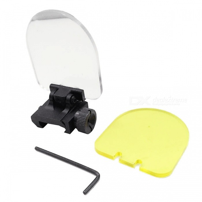 Flip Up Scope Lens Protector Mount with Two Lens for AEG GBB AirsoftOther Accessories<br>Form  ColorBlack + YellowMaterialAluminum alloy + plasticQuantity1 DX.PCM.Model.AttributeModel.UnitPacking List2 x Scopes lens protectors1 x Base mount 1 x Wrench<br>