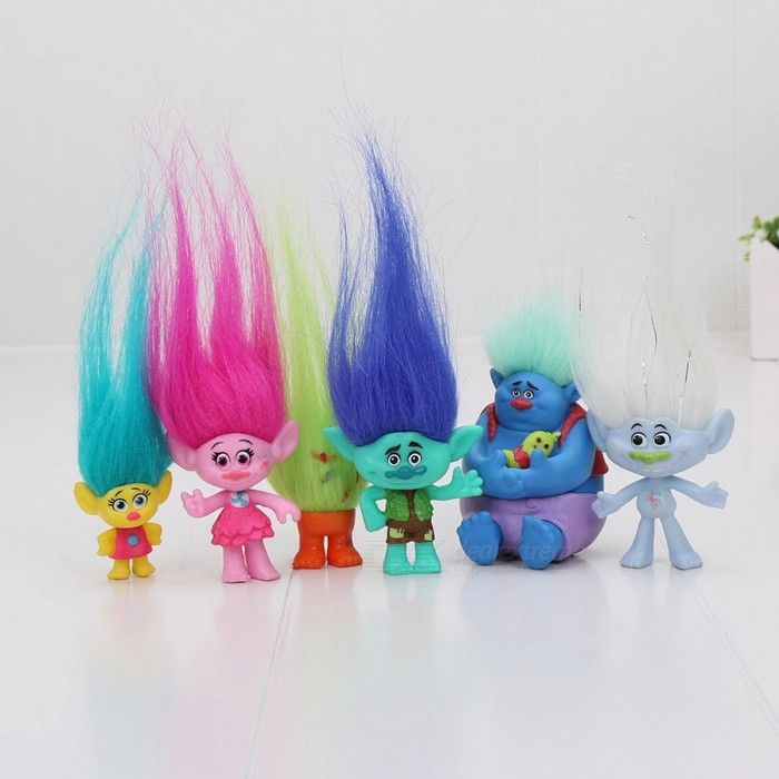 6Pcs/Set Trolls Action Toy for KidsOther Toys<br>Form  ColorYellowish Brown + Blue + Multi-ColoredMaterialPVCQuantity1 DX.PCM.Model.AttributeModel.UnitSuitable Age 3-4 years,5-7 years,8-11 yearsPacking List6 x Toys<br>