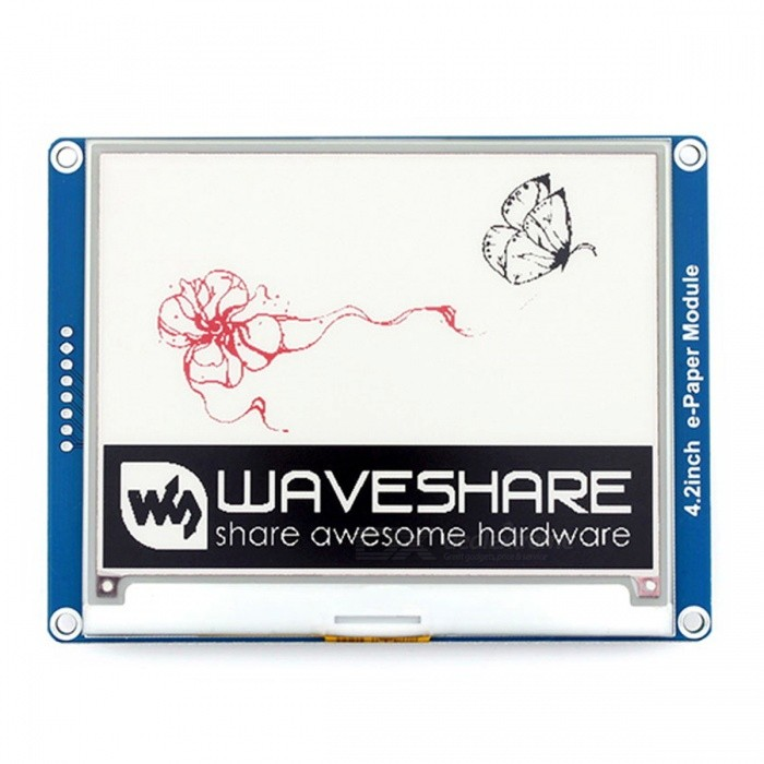 Waveshare 400x300 4.2-Inch E-Ink Display Module for Pi/Arduino/NucleoLCD, LED Display Module<br>Form  Color4.2inch e-Paper Module (B) ModelN/AQuantity1 setMaterialFR4, PCB, LCDScreen TypeOthers,Serial e-Ink ScreenScreen Size4.2 inchResolutionOthers,400 x300Working Voltage   3.3V VEnglish Manual / SpecNoDownload Link   www.waveshare.com/wiki/4.2inch_e-Paper_Module_(B)Packing List1 x 4.2-Inch e-Paper Module (B)1 x PH2.0 20cm 8Pin<br>