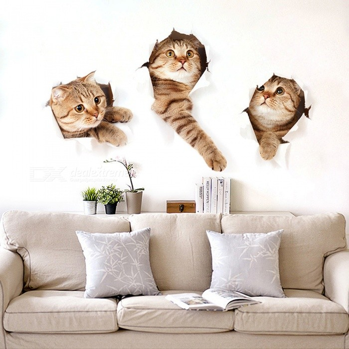 Removable DIY Cute Kitten Decorated Wall StickerWall Sticker <br>Form  ColorLight Brown + BeigeShade Of ColorBrownMaterialPVCQuantity1 DX.PCM.Model.AttributeModel.UnitStyleContemporaryDimension40*60 DX.PCM.Model.AttributeModel.UnitPacking List1 x Wall sticker<br>