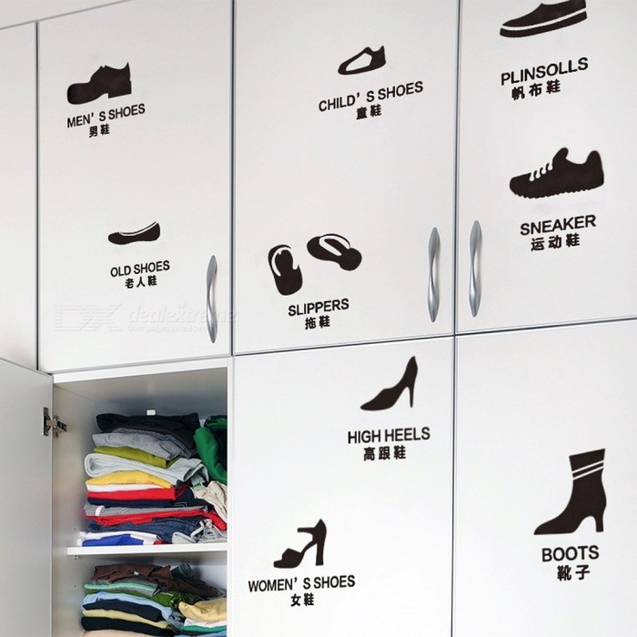 Removable DIY Shoes Pattern Shoe Cabinet Wall StickerWall Sticker <br>Form  ColorBlackShade Of ColorBlackMaterialPVCQuantity1 DX.PCM.Model.AttributeModel.UnitStyleContemporaryDimension20*40 DX.PCM.Model.AttributeModel.UnitPacking List1 x Wall sticker<br>