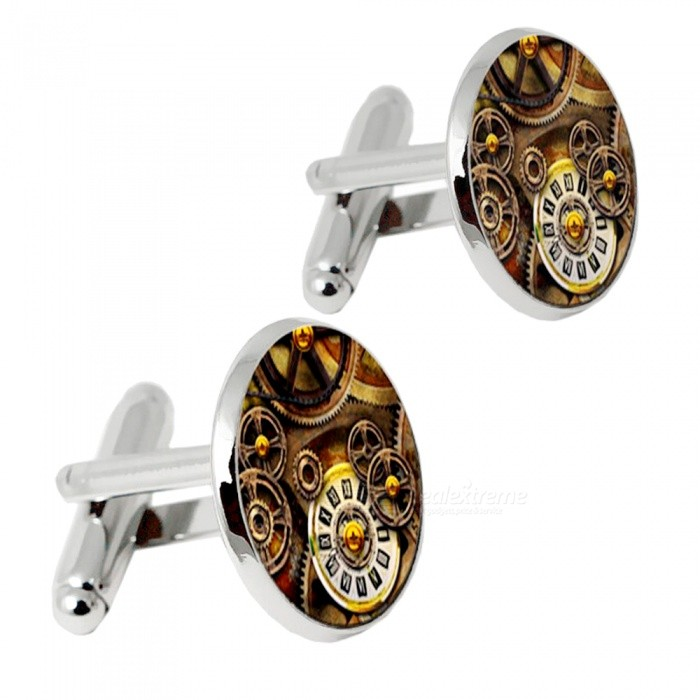 Alloy Clock Pattern Men Cufflinks - Silver + MulticolorCufflinks<br>Form  ColorSilver + MulticoloredQuantity2 DX.PCM.Model.AttributeModel.UnitShade Of ColorSilverMaterialAlloyPacking List2 x Cufflinks<br>