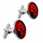 Alloy Flag Pattern Men Cufflinks - Silver + Red