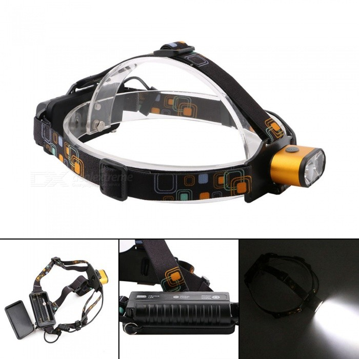 ZHAOYAO Portable T6 Waterproof Double Head 3-Mode Headlamp - GoldenHeadlamps<br>Form  ColorGolden + Black + Multi-ColoredModel2-T6Quantity1 DX.PCM.Model.AttributeModel.UnitMaterialAluminiumEmitter BrandCreeLED TypeXM-LEmitter BINT6Color BINWhiteNumber of Emitters2Working Voltage   3.7-7.4 DX.PCM.Model.AttributeModel.UnitPower Supply18650Current2 DX.PCM.Model.AttributeModel.UnitTheoretical Lumens3000 DX.PCM.Model.AttributeModel.UnitActual Lumens500-2500 DX.PCM.Model.AttributeModel.UnitRuntimeDepends on the battery quantities hour DX.PCM.Model.AttributeModel.UnitNumber of Modes3Mode ArrangementHi,Low,Fast StrobeMode MemoryNoSwitch TypeClicky SwitchSwitch LocationHeadLensGlassReflectorNoBand Length20 DX.PCM.Model.AttributeModel.UnitCompatible Circumference40-80cmBeam Range100-400 DX.PCM.Model.AttributeModel.UnitPacking List1 x Head lamp 1 x USB cable 2 x 18650 batteries1 x EU charger<br>