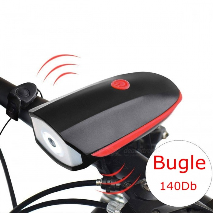 ZHAOYAO USB Rechargeable 3-Mode Bike Light with 140Dd Loud Horn - Red