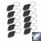 10Pcs LED Keychain Finger Light - Black