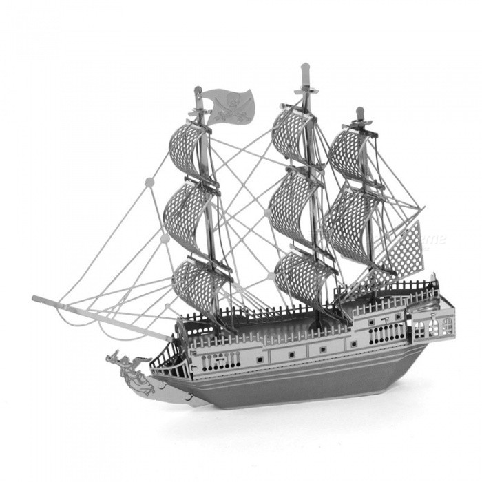 DIY Puzzle 3D Caribbean Pirate Ship Assembling Model Puzzle ToyBlocks &amp; Jigsaw Toys<br>Form  ColorSilverMaterialStainless steelQuantity1 setNumber2Size10.2cm*2.5cm*8.9cmSuitable Age 8-11 years,12-15 years,Grown upsPacking List1 x Ship Model Puzzle Toy<br>