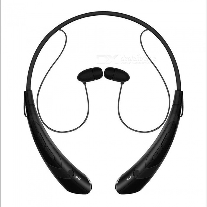Running Sports Bluetooth Wireless Headset Headphones - BlackHeadphones<br>Form  ColorBlackBrandOthers,HVModelHV-760MaterialABSQuantity1 DX.PCM.Model.AttributeModel.UnitConnectionBluetoothBluetooth VersionBluetooth V4.0Operating Range10mConnects Two Phones SimultaneouslyYesHeadphone StyleBilateralWaterproof LevelIPX3Applicable ProductsOthers,currencyHeadphone FeaturesPhone Control,Long Time Standby,Noise-Canceling,Volume ControlRadio TunerNoSupport Memory CardNoSupport Apt-XYesPacking List1 x Bluetooth headset1 x Manual1 x Charging cable2 x Ear caps<br>