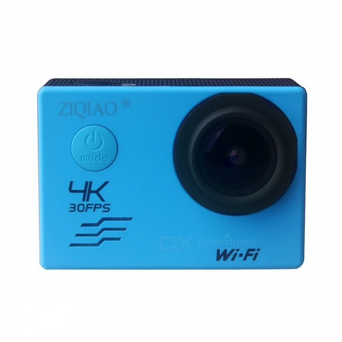 ZIQIAO SX-V60 4K WiFi HD Waterproof DV Camcorder Sports Camera - BlueCamcorders<br>Form  ColorBlueModelSX-V60Shade Of ColorBlueMaterialABSQuantity1 DX.PCM.Model.AttributeModel.UnitImage SensorOthers,SONY 078Image Sensor SizeOthers,1/2.8 inchAnti-ShakeYesFocal Distance10 DX.PCM.Model.AttributeModel.UnitFocusing Range2.5m~10mWide Angle170ApertureF2.0Effective Pixels12 millionMax. Pixels16 million DX.PCM.Model.AttributeModel.UnitPicture FormatsJPEGStill Image Resolution16M/12M/8M/5M/2MVideo FormatMOVVideo Resolution4K@30FPS/2.7K@30FPS/1080P@60FPS<br>/1080P@30FPS/720P@120FPSVideo Frame Rate30,120Cycle RecordYesISO400Exposure CompensationOthers,-2;1-1;0;1;2Supports Card TypeSDSupports Max. Capacity64 DX.PCM.Model.AttributeModel.UnitBuilt-in Memory / RAMNoOutput InterfaceMini USB,Micro HDMILCD ScreenYesScreen TypeTFTScreen Size2 DX.PCM.Model.AttributeModel.UnitBattery included or notYesBattery Measured Capacity 900 DX.PCM.Model.AttributeModel.UnitNominal Capacity1050 DX.PCM.Model.AttributeModel.UnitVoltage5 DX.PCM.Model.AttributeModel.UnitBattery Charging Time3 hoursWaterproofYesSupported LanguagesEnglish,French,German,Italian,Spanish,Portuguese,Russian,Japanese,Simplified Chinese,Traditional ChinesePacking List1 x ZIQIAO SX-V60 Camera1 x 1050mAh Battery1 x Waterproof Case1 x Bicycle Stand1 x USB Cable1 x Lens Cloth1 x Bandage<br>