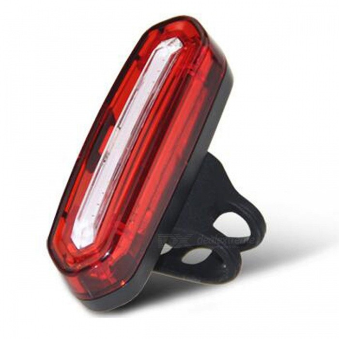100LM USB Rechargeable COB LED Mountain Bike MTB Safety Tail LightBike Light<br>Form  ColorRed + BlackQuantity1 setMaterialPC &amp; ABSEmitter BrandOthers,COB LEDLED TypeOthers,COB LEDEmitter BINLEDColor BINNeutral White,RedNumber of Emitters1Input Voltage5 VBatteryLithium batteryBattery included or notYesCurrent600 mAActual Lumens100 lumensRuntime14 hoursNumber of Modes6Mode ArrangementHi,Mid,Slow Strobe,Fast Strobe,SOS,Others,Red &amp; White AlternateMode MemoryYesSwitch TypeClicky SwitchSwitch LocationSideStrap/ClipClip includedApplicationSeat PostHolder Diameter1.8-2.5 cmWaterproofYesPacking List1 x Lamp with mount gel strap1 x USB cable<br>