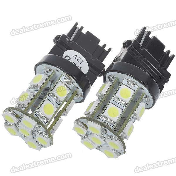 T25 4.5W 12V 95-Lumen 16x5050 SMD LED Car Turning Signal White Light Bulb (Pair)