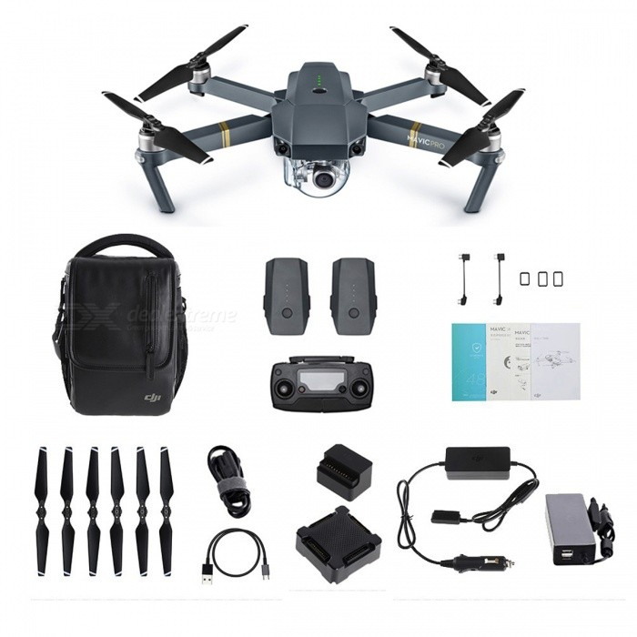 DJI Mavic Pro Foldable Obstacle Avoidance Drone FPV Quadcopter KitR/C Airplanes&amp;Quadcopters<br>Form  ColorBlack (One Kit)ModelDJI Mavic Pro ComboMaterialPlasticQuantity1 DX.PCM.Model.AttributeModel.UnitShade Of ColorGrayGyroscopeYesChannels Quanlity6 DX.PCM.Model.AttributeModel.UnitFunctionUp,Down,Left,Right,Forward,Backward,Stop,Hovering,Sideward flightRemote TypeRadio ControlRemote control frequency2.4GHzRemote Control Range7000 DX.PCM.Model.AttributeModel.UnitSuitable Age Grown upsCameraYesCamera PixelOthers,4KLamp YesBattery TypeLi-polymer batteryBattery Capacity3830 DX.PCM.Model.AttributeModel.UnitCharging Time2 DX.PCM.Model.AttributeModel.UnitWorking Time27 DX.PCM.Model.AttributeModel.UnitRemote Controller Battery TypeOthers,Built-inRemote Controller Battery Number1Remote Control TypeIncludedModelMode 2 (Left Throttle Hand)Packing List1 x DJI Mavic Pro RC Quadcopter1 x Remote Controller3 x 11.4V 3830mAh Intelligent Flight Batteries1 x Gimbal Cover5 x Pair of Propellers1 x Battery Charging Hub1 x Car Charger1 x Battery-powerbank Adaptor1 x Gimbal Clamp1 x Charger1 x Power Cable1 x 16GB Micro SD Card1 x Micro USB Cable3 x RC Cables4 x RC Cable Sliders1 x Manual<br>