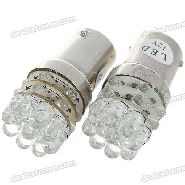 BA15S 1.5W 12V 63-Lumen 21-LED Car Turning Signal White Light Bulb (Pair) - DXBayonet Bulbs(BA9S/BA15S)<br>Ultra bright high intensity white light LEDs - Color: White light - Number of LEDs: 21 - Luminous flux: 63-lumen - Easy installation plug and play with no modification needed - Rated voltage: DC 12V 1.5W - Socket: BA15S - 2-bulb pack<br>