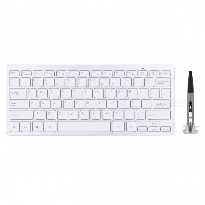 BLCR Wireless Keyboard with Adjustable DPI Optical Pen Mouse - GreyWireless Keyboards<br>Form  ColorWhite + GreyMaterialABSQuantity1 setInterfaceUSB 2.0Wireless or Wired2.4G WirelessBluetooth VersionNoCompatible BrandAPPLE,Dell,HP,Toshiba,Acer,Lenovo,Samsung,MSI,Sony,IBM,Asus,Thinkpad,Huawei,GoogleTracking MethodOthers,Optical laserBack-litNoOperation Distance10 mPowered ByAAA BatteryBattery included or notNoCharging Time0 hourBattery Number3WaterproofNoSupports SystemOthers,Windows 7 / 8 / Vista / XP / 2000, Android, Linux, Mac OSPacking List1 x 2.4G Keyboard1 x Pen Mouse 1 x USB 2.4GHz receiver 1 x Mount<br>