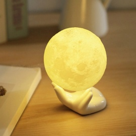 10cm Diameter 3D Print Moon Lamp USB LED Night Light