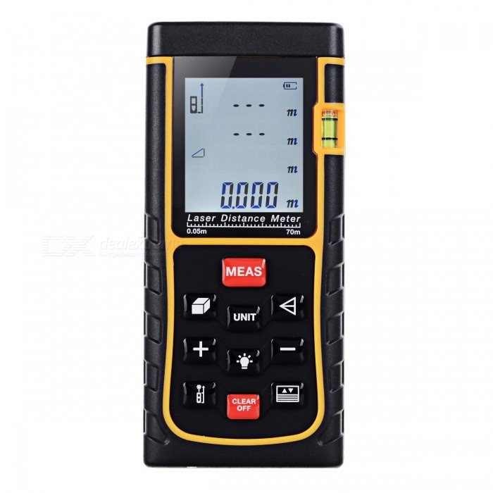 BLCR E70 70m Digital Laser Distance Meter Laser RangefinderLaser Rangefinder, Electronic Distance Meter<br>Form  Color70MModelE70Quantity1 setMaterialABSDetection Range0.05~70mMeasuring Accuracy+/-1.5mmLaser LevelClass IIMax.Storage100 unitsDisplay1.8Powered ByAAA BatteryBattery included or notNoEnglish Manual / SpecYesPacking List1 x Laser Distance Meter1 x Portable Pouch1 x Hanging Rope<br>