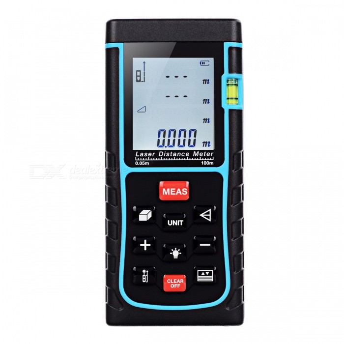 E100 100m Digital Laser Distance Meter Laser RangefinderLaser Rangefinder, Electronic Distance Meter<br>Form  Color100MModelE100Quantity1 setMaterialABSDetection Range0.05~100mMeasuring Accuracy+/-1.5mmLaser LevelClass IIMax.Storage100 unitsDisplay1.8Powered ByAAA BatteryBattery included or notNoEnglish Manual / SpecYesPacking List1 x Laser Distance Meter1 x Portable Pouch1 x Hanging Rope<br>