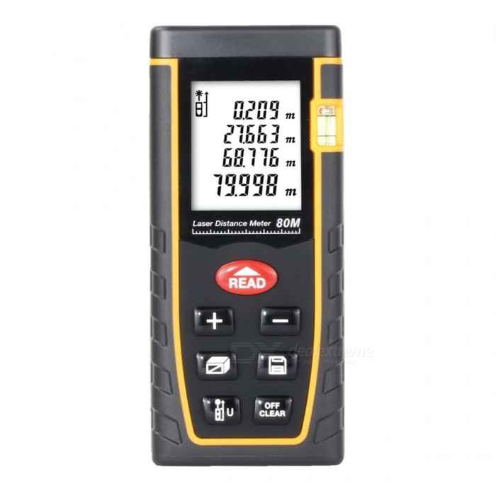 BLCR T80 80m Digital Laser Distance Meter Laser RangefinderLaser Rangefinder, Electronic Distance Meter<br>Form  Color80MModelT80Quantity1 DX.PCM.Model.AttributeModel.UnitMaterialABSDetection Range0.05~80mMeasuring Accuracy+/-2mmLaser LevelClass IIMax.Storage60 unitsDisplay1.8 LCDPowered ByAAA BatteryBattery included or notNoEnglish Manual / SpecYesPacking List1 x Laser Distance Meter1 x Portable Pouch1 x Hanging Rope<br>
