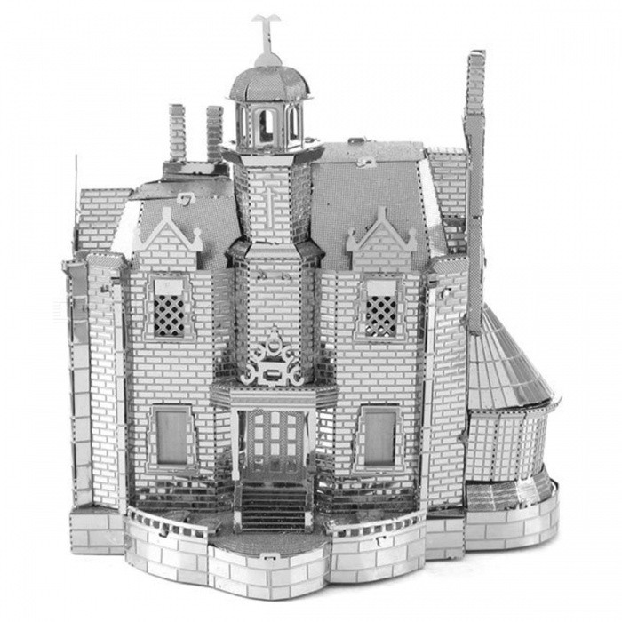 DIY Puzzle 3D Ghost Haunted House Assembly Model Toy - SilverBlocks &amp; Jigsaw Toys<br>Form  ColorSilverMaterialStainless steelQuantity1 DX.PCM.Model.AttributeModel.UnitNumber2Size6.5cm*6cm*9.5cmSuitable Age 8-11 years,12-15 years,Grown upsPacking List2 x Model boards<br>