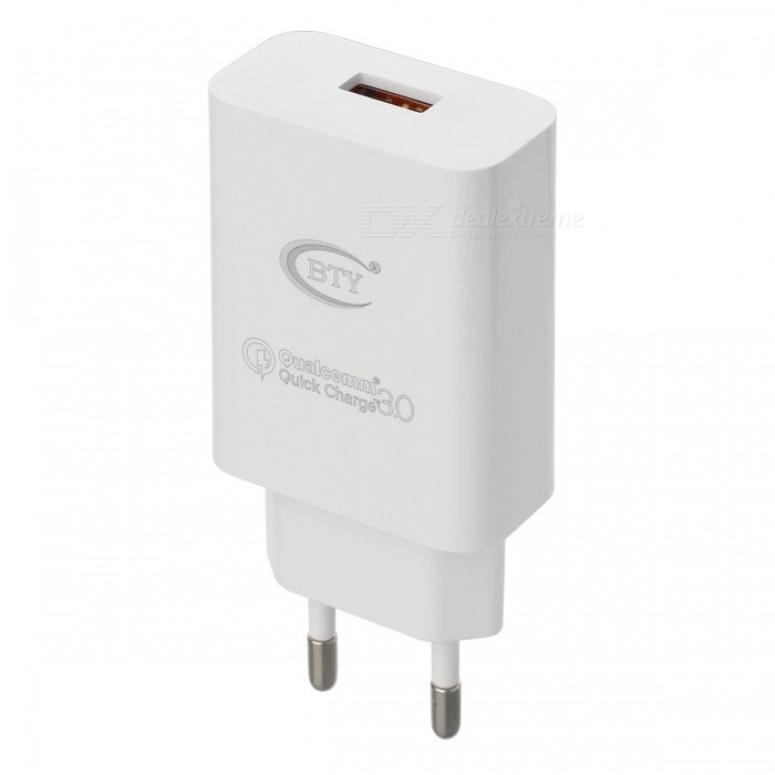 BTY-M521A QC3.0 Fast Charge AC Charger - White (EU Plug)AC Chargers<br>Form  ColorWhiteModelM521AMaterialABSQuantity1 DX.PCM.Model.AttributeModel.UnitCompatible ModelsAndroid phoneInput VoltageAC 100~240 DX.PCM.Model.AttributeModel.UnitOutput CurrentSingle port output: 5V 3.0A, 9V 2.0A, 12V 1.5 DX.PCM.Model.AttributeModel.UnitOutput Power18 DX.PCM.Model.AttributeModel.UnitOutput VoltageDC 5V, 9V, 12 V DX.PCM.Model.AttributeModel.UnitSplit adapter number1 drag 1Power AdapterEU PlugQuick ChargeYESLED IndicatorNoCertificationCE, RoHSPacking List1 x Charger<br>