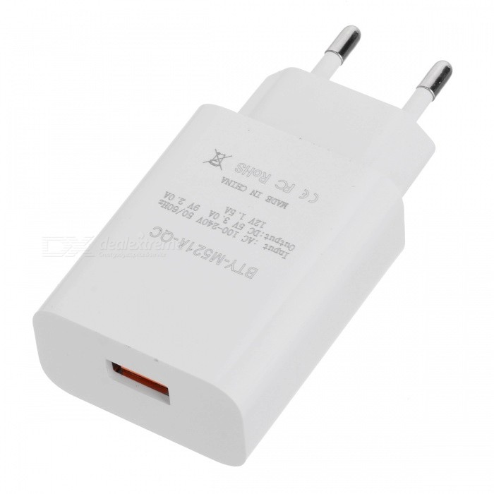 BTY M521A EU Plug QC3.0 Fast Charger with Data Cable - White, Black